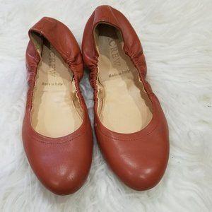 J. Crew Cognac Leather Slip-on Flats